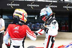 Winner Alexander Albon, ART Grand Prix and second place Charles Leclerc, ART Grand Prix in parc ferm