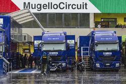Rain in the Mugello paddock