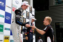 Rookie podium, Joel Eriksson, Motopark, Dallara F312 - Volkswagen getting the trophy of Felix Rosenq