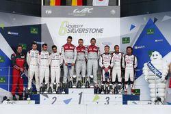 The podium (L to R): Marc Lieb, Romain Dumas, Neel Jani, #02 Porsche Team Porsche 919 Hybrid, secon