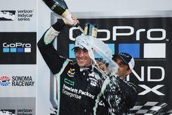 Race winner and 2016 champion Simon Pagenaud, Team Penske Chevrolet, third place Juan Pablo Montoya,