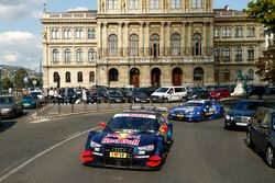 The car with Jamie Green, Audi Sport Team Rosberg, Audi RS 5 DTM at Budpest city