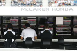Eric Boullier, Racing Director, McLaren, sits on the middle seat of the pit wall perch with colleagu