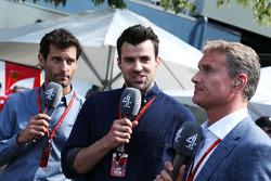 Mark Webber, piloto WEC del equipo de Porsche y presentador de canal 4 con Steve Jones, Canal F1 4 presentador y David Coulthard, Red Bull Racing y Scuderia Toro asesor y comentarista de F1 4 de canal