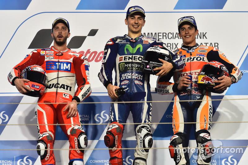 Podio: 1º Jorge Lorenzo, 2º Andrea Dovizioso, 3º Marc Márquez