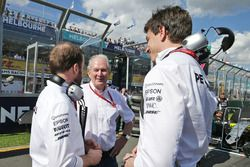 Bradley Lord, Mercedes AMG F1 Communications Manager with Dr Helmut Marko, Red Bull Motorsport Consultant and Toto Wolff, Mercedes AMG F1 Shareholder and Executive Director
