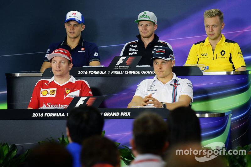 Press conference: Marcus Ericsson, Sauber, Nico Hulkenberg, Sahara Force India F1, Kevin Magnussen, Renault Sport F1 Team, Kimi Raikkonen, Ferrari and Valtteri Bottas, Williams