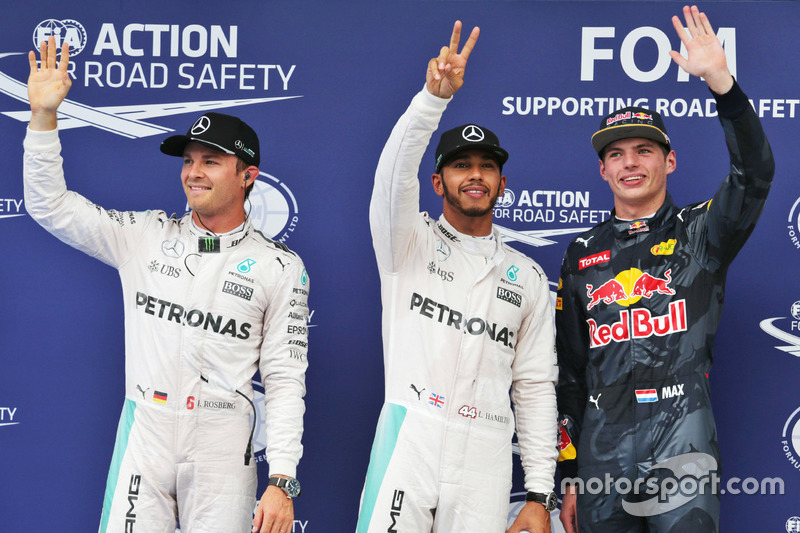 Polesitter Lewis Hamilton, 2. Nico Rosberg, 3. Max Verstappen