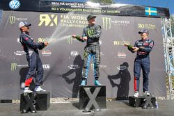 Podium: winner Andreas Bakkerud, Hoonigan Racing Division, second place Sébastien Loeb, Team Peugeot Hansen, third place Timmy Hansen, Team Peugeot Hansen