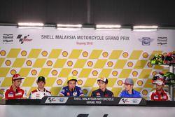 Andrea Iannone, Ducati Team; Cal Crutchlow, LCR Honda; Valentino Rossi, Movistar Yamaha MotoGP; Marc Marquez, Repsol Honda Team; Maverick Viñales, Team Suzuki Ecstar MotoGP; Andrea Dovizioso, Ducati Team at Press Conference