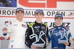 Rookie Podium: Winner Ferdinand Habsburg, Drivex School; second place Harrison Scott, Teo Martin Motorsport; third place Colton Herta, Carlin Motorsport