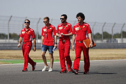 Sebastian Vettel, Ferrari, conducts a track walk with colleagues
