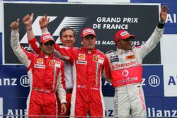 Podium: second place Felipe Massa, Ferrari, Race winner Kimi Raikkonen, Ferrari, third place Lewis Hamilton, McLaren
