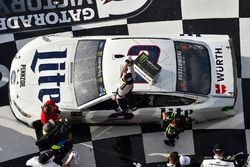 Brad Keselowski, Team Penske Ford Fusion celebrates his win