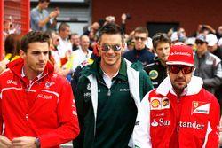 Jules Bianchi, Marussia F1 Team, Andre Lotterer, Caterham F1, and Fernando Alonso, Ferrari