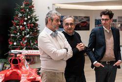 Arrivabene, Marchionne y Binotto en el Natale Ferrari