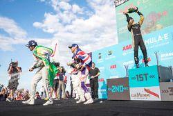 Jean-Eric Vergne, Techeetah, celebrates on the podium with Lucas di Grassi, Audi Sport ABT Schaeffle