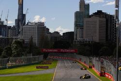 Carlos Sainz Jr., Renault Sport F1 Team R.S. 18, Fernando Alonso, McLaren MCL33 Renault, and Stoffel Vandoorne, McLaren MCL33 Renault
