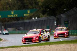 Scott McLaughlin, DJR Team Penske Ford, leads Fabian Coulthard, DJR Team Penske Ford