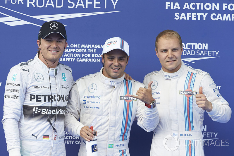 Polesitter Felipe Massa, Williams F1, second place Valterri Bottas, Williams F1, and third placeNico