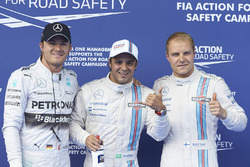 Le poleman Felipe Massa, Williams F1, le second Valterri Bottas, Williams F1, et le troisième Nico Rosberg, Mercedes AMG