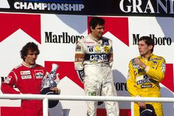 Podium: race winner Nelson Piquet,Williams, second place Alain Prost, McLaren and third place Ayrton