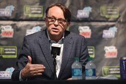 NASCAR President Brent Dewar during a press conference
