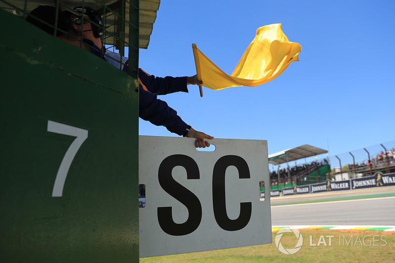 Marshal waves the Yellow flag