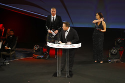 Zak Brown, Executive Director, McLaren Technology Group, on stage with David Coulthard and Lee McKen