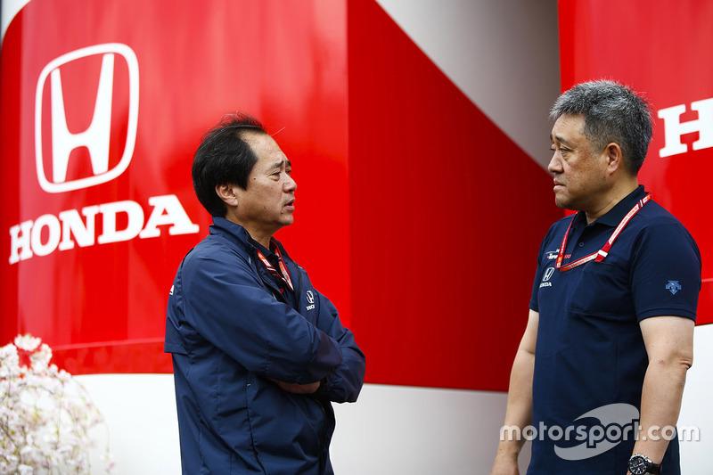 Toyoharu Tanabe, F1 Technical Director, Honda, with Masashi Yamamoto, General Manager, Honda Motorsport