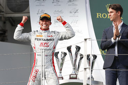 Nyck De Vries, PREMA Racing celebrates on the podium after winning the race