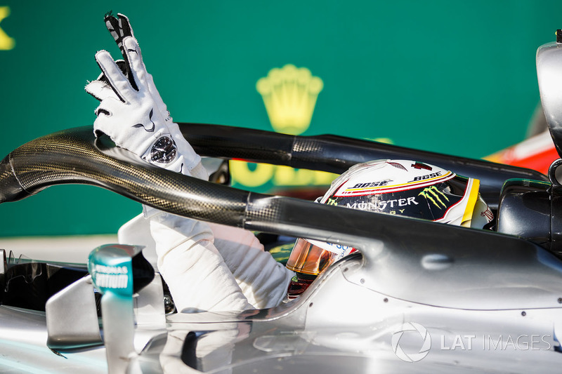 Lewis Hamilton, Mercedes AMG F1 W09 celebrates on cool down lap Zak Mauger