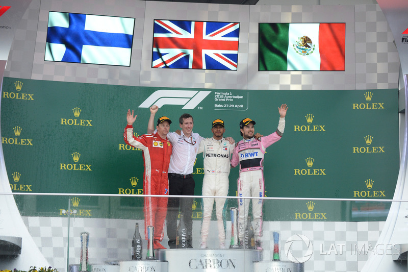 O pódio do GP do Azerbaijão de 2018