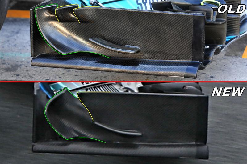 Mercedes F1 W09 detail van de voorvleugel