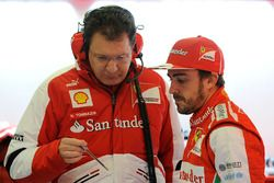Nicholas Tombazis, Ferrari Chief Designer with Fernando Alonso, Ferrari