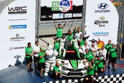 Winner WRC2 Pontus Tidemand, Jonas Andersson, Škoda Motorsport Škoda Fabia R5 with the team