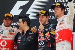 Podium: race winner Sebastian Vettel, Red Bull Racing, second place Lewis Hamilton, McLaren, third place Jenson Button, McLaren, Peter Prodromou, Red Bull Racing Head of Aerodynamics