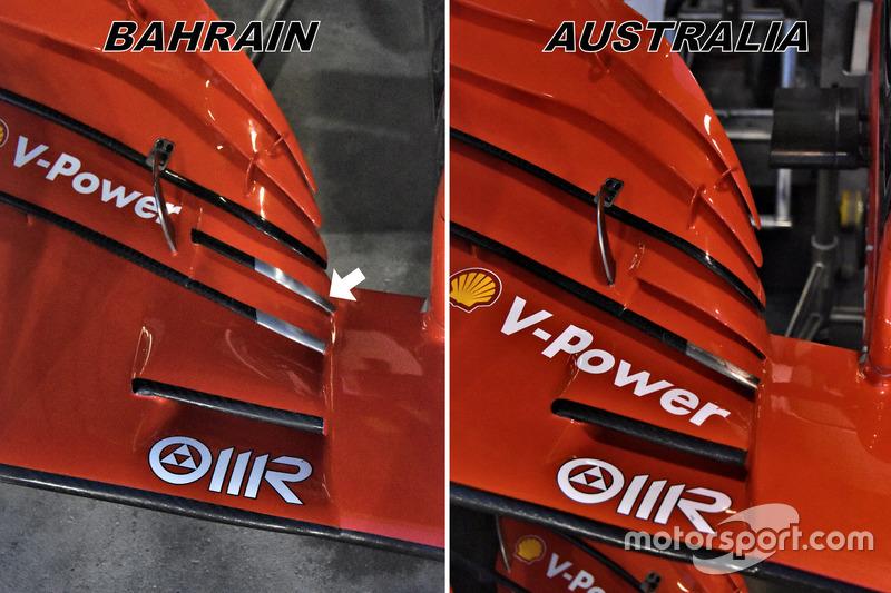 Comparaison des ailerons avant de la Ferrari SF71H