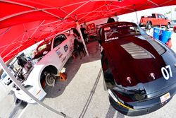 Crews work on the #07 TA4 Ford Mustang: Brian Kleeman of DWW Motorsports and #09 TA4 Ford Mustang: Chris Outzen of DWW Motorsports
