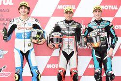 Qualifying top three: Lorenzo Baldassarri, Pons HP 40, polesitter Xavi Vierge, Dynavolt Intact GP, D