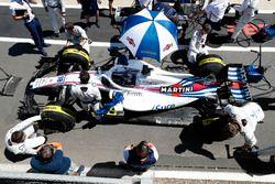 Lance Stroll, Williams FW41, en el pitlane