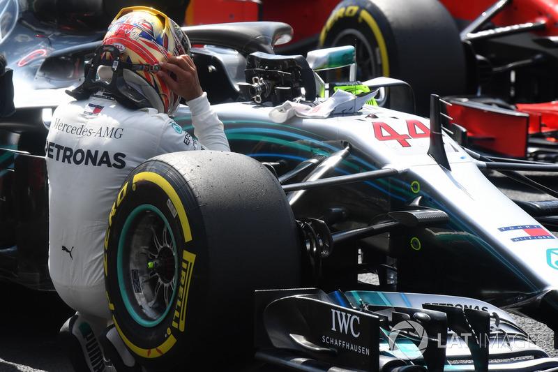 Lewis Hamilton, Mercedes-AMG F1 W09 celebra en parc ferme