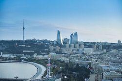 Vista aérea de Bakú