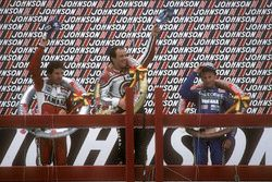 Podium: winner Randy Mamola, second place Eddie Lawson, third place Christian Sarron