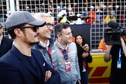 Actor Orlando Bloom on the grid with Alejandro Agag, Formula E CEO