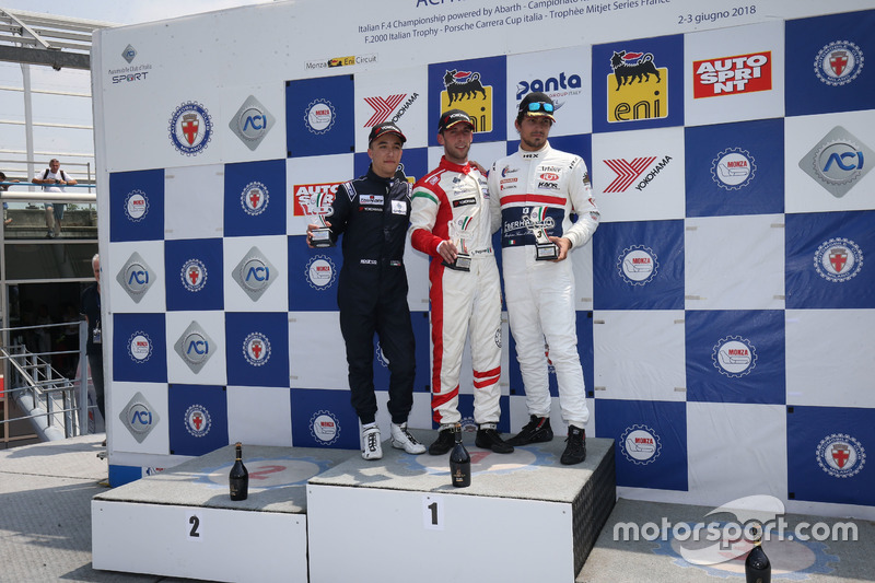 Podio Rookie Gara 2: il secondo classificato Simone Riccitelli, Kinetic Racing, il vincitore della gara Lorenzo Pegoraro, Best Lap, il terzo classificato Claudio Giudice, Scuderia Giudici