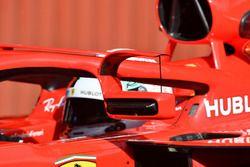 Sebastian Vettel, Ferrari SF71H with mirror mounted on halo