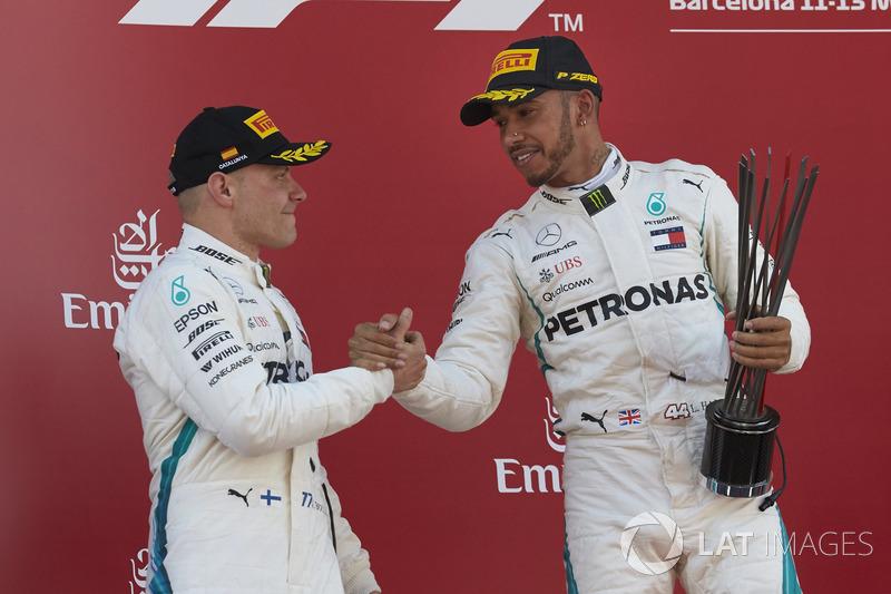 Valtteri Bottas, Mercedes AMG F1, 2nd position, Lewis Hamilton, Mercedes AMG F1, 1st position, on the podium