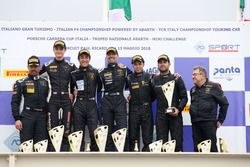 Podio GT3 Gara 2: al secondo posto Zampieri-Altoè, Antonelli Motorsport, i vincitori Palma-Barri, Petri Corse Motorsport, al terzo posto Fontana-Mancinelli, Easy Race