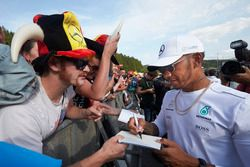 Lewis Hamilton, Mercedes AMG F1, signs autographs for fans